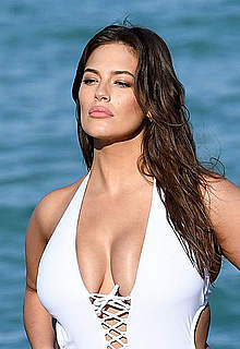 Ashley Graham in white swimsuit photoshoot