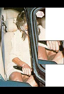 Farrah Fawcett upskirt in a car