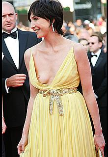 Elsa Zylberstein tit slip in a yellow dress on the red carpet of Cannes Film Festival