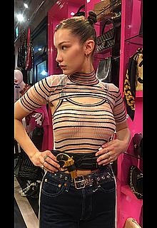 Bella Hadid in see through top