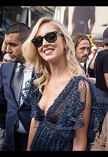 Chiara Ferragni tit slip at Alberta Ferretti fashion show during Milan Fashion Week