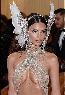 Emily Ratajkowski in see through top at 2019 Met Gala
