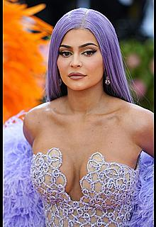 Kylie Jenner sexy cleavage in see through dress at 2019 Met Gala