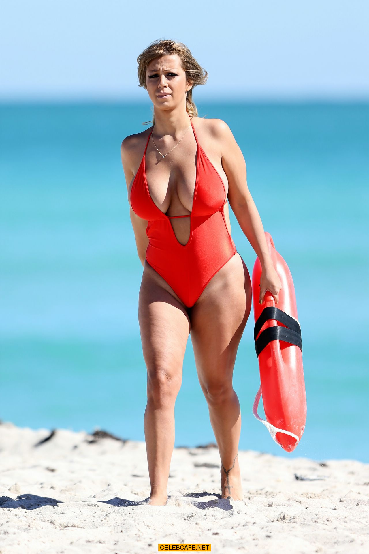 busty jolena forde baywatch swimsuit candids at miami beach