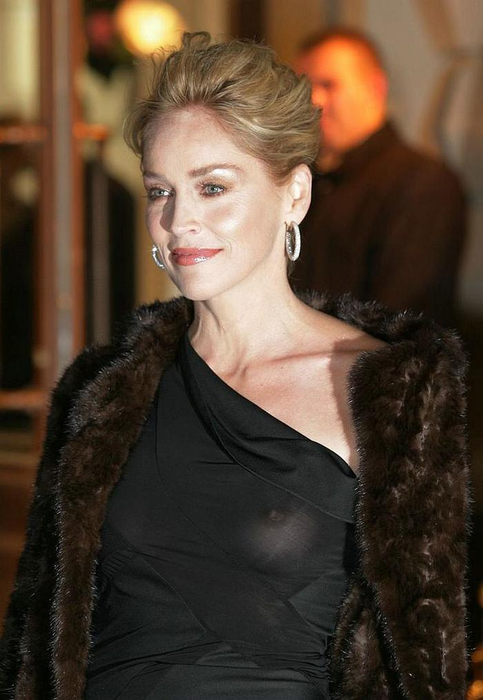 Sharon Stone nude tits with hard nipples under transparent dress