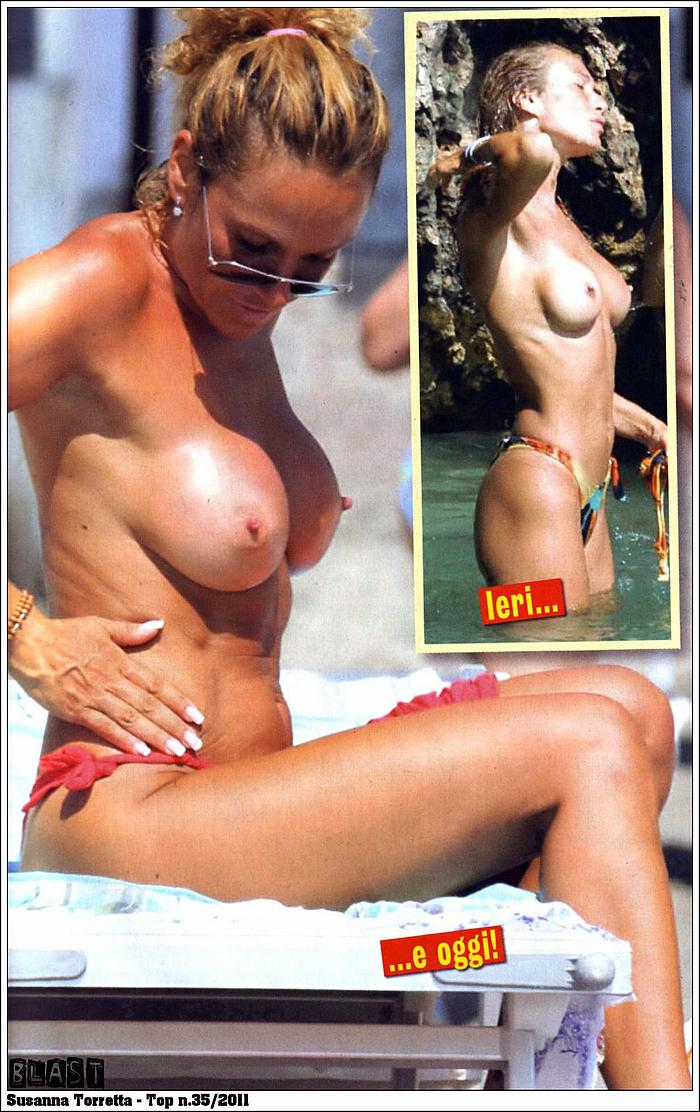 Italian actress Susanna Torretta sunbathing topless