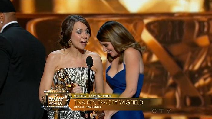Tina Fey oops nipple slip at 65th Emmy Awards