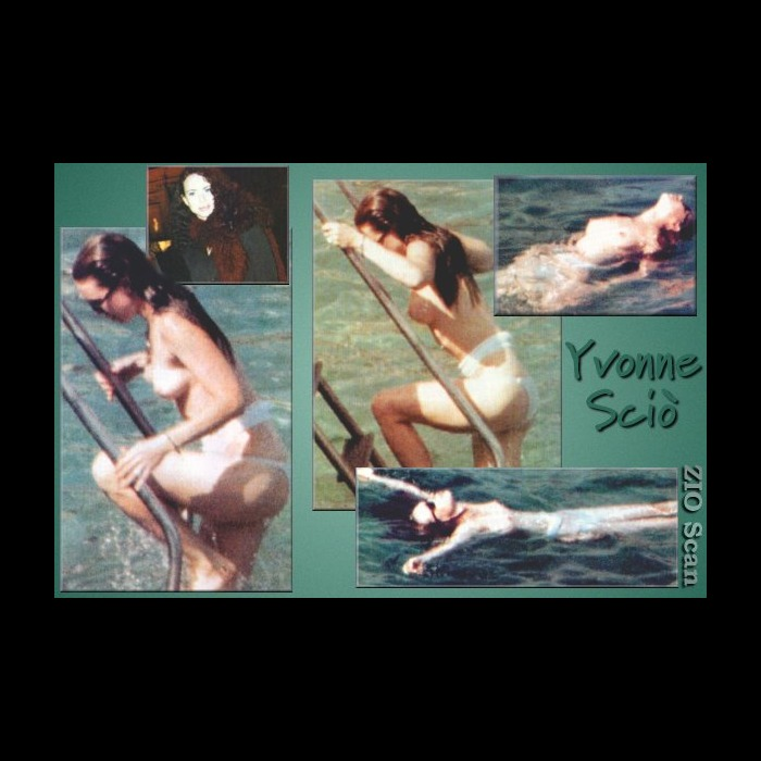 Yvonne Scio topless paparazzi collage