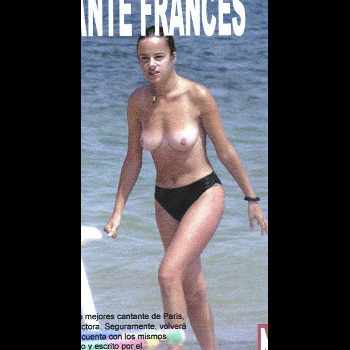 French singer Alizee topless on a beach paparazzi photo