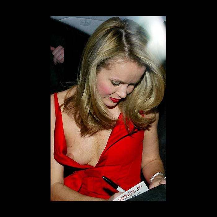Amanda Holden titslip in red dress