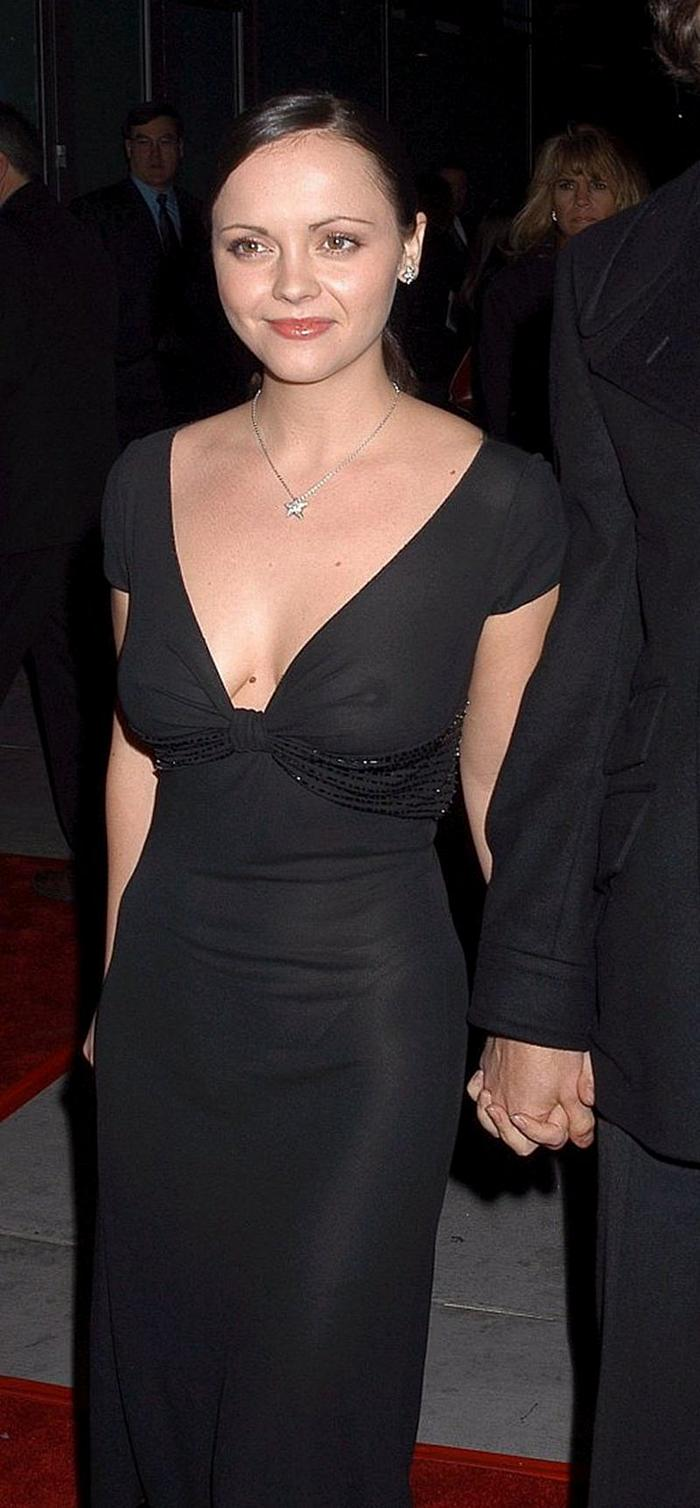 Christina Ricci nude boobs under see through dress at premiere
