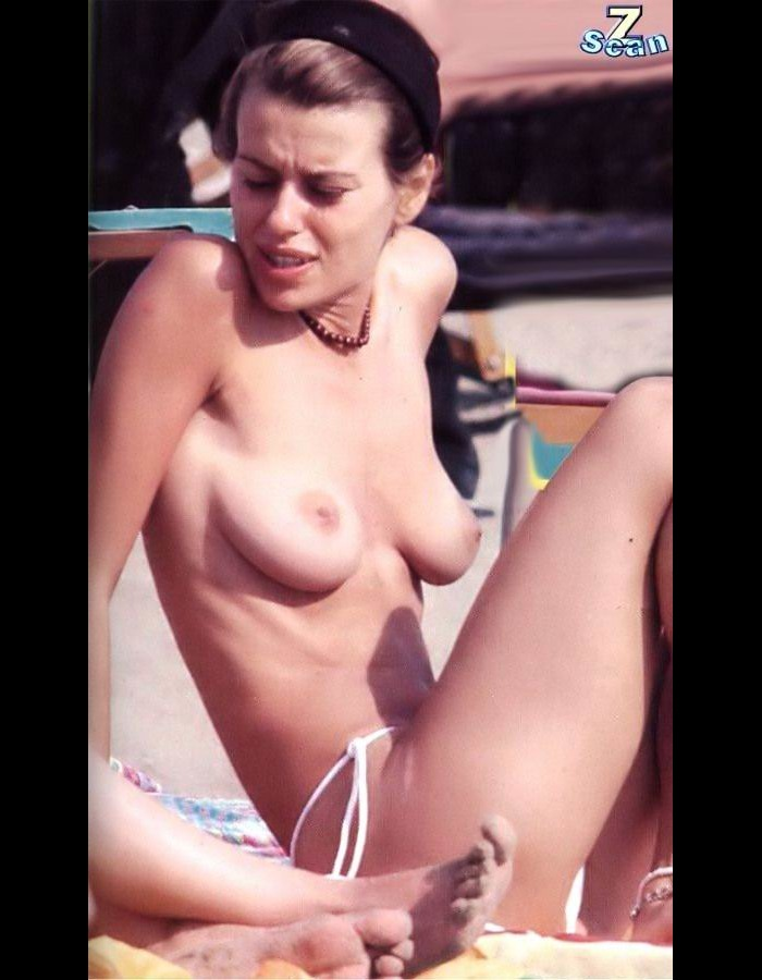Italian Claudia Pandolfi topless on a beach