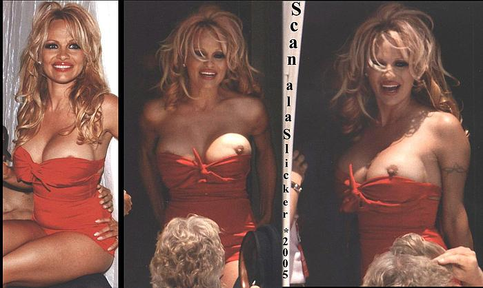 Pamela Anderson boobslip in red swimsuit