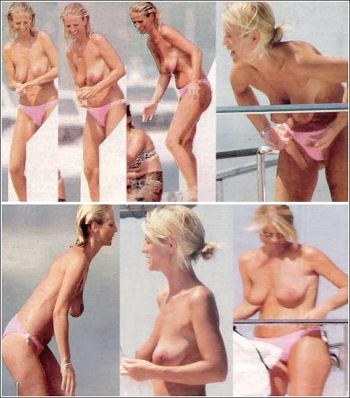 Ulrika Jonsson caught topless on a beach