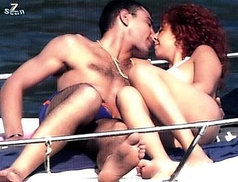 Angela Sozio topless on a beach and yacht with honey