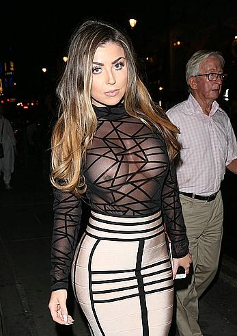 Abigail Clarke nude breasts under see through top at the Sixty Six magazine Launch party in London