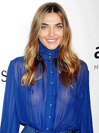 Alina Baikova without bra under see through blue blouse at the amfAR Inspiration Gala