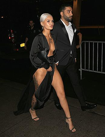 Amina Blue sexy legs at New York Fashion Week