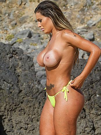 Andressa Urach nude boobs on a beach in Portugal