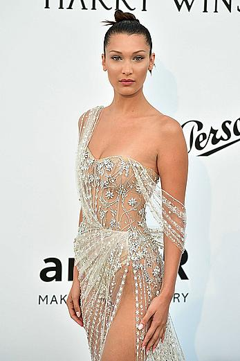 Bella Hadid in see through dress at 70th Cannes Film Festival