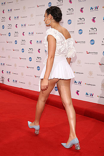 Charli XCX upskirt in short white dress at 30th annual ARIA awards 2016