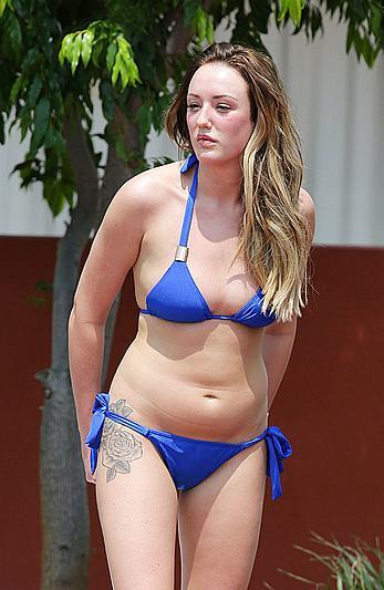 Charlotte Crosby in blue bikini candids in Australia