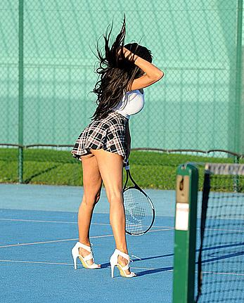 Chloe Khan upskirt shows her pants at tennis court in Manchester