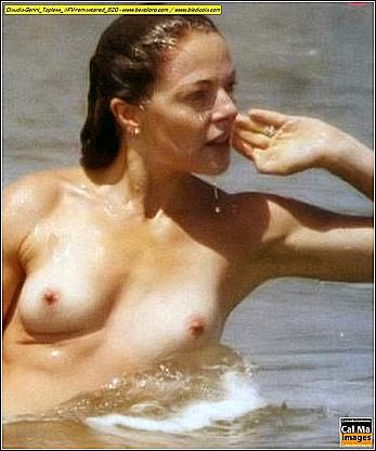 Italian actress and showgirl Claudia Gerini topless in a sea