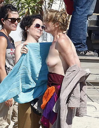 Emma Thompson topless in set of The Love Punch