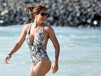 Gemma Atkinson in swimsuit on a beach in Cape Verde