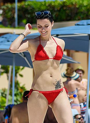 Jaimie Alexander in red bikini at the pool in Cancun