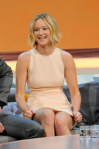 Jennifer Lawrence legs and upskirt at Wetten, Dass.. in Austria