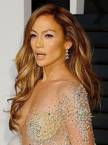Jennifer Lopez sexy cleavage at Vanity Fair Oscar Party