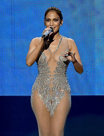 Jennifer Lopez pussy lips under see through dresss at 2015 American Music Awards