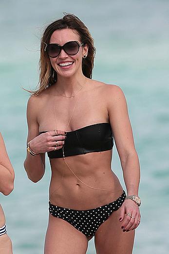 Katie Cassidy wearing black bikini in Miami