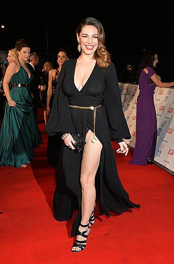 Busty Kelly Brook without bra under see through dress National Televison Awards 2014 in London
