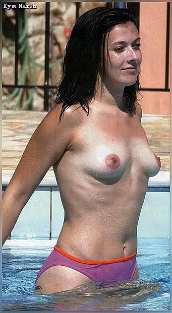 Kym Marsh topless in pink bikini panties in a pool