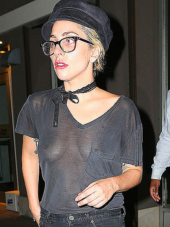 Singer Lady Gaga in see through top at a recording studio in NYC