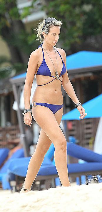 Lady Victoria Hervey enjoying a day at the beach in Barbados