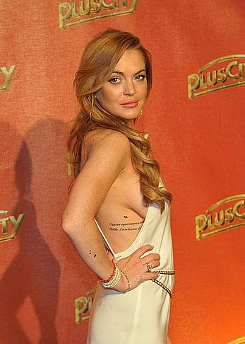 Lindsay Lohan side boob at White Festival in Linz