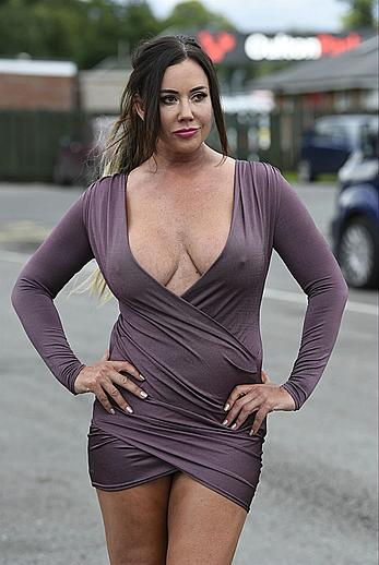 Lisa Appleton pokies in short tight dress at Oulton Park Circuit Racetrack in Cheshire