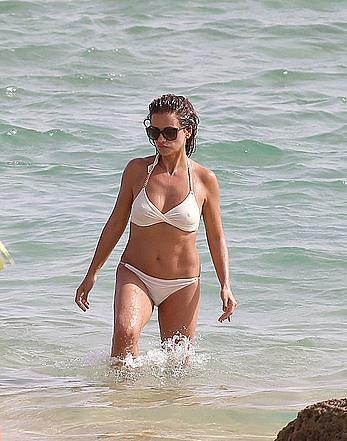 Monica Cruz in white bikini in Cadiz