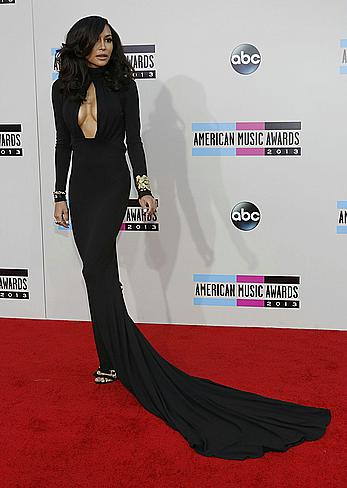 Naya Rivera sexy cleavage at 2013 American Music Awards in LA