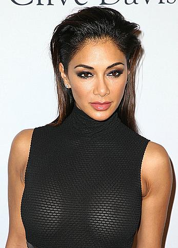 Nicole Scherzinger nude boobs under see through dress Pre-GRAMMY Gala