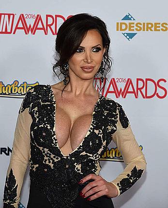 Busty Nikki Benz deep cleavage at 2016 Adult Video News Awards