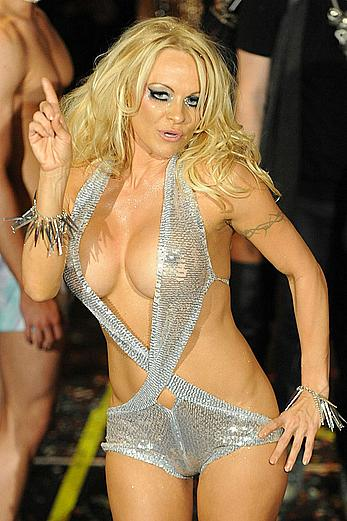Pamela Anderson hard nipples at The Richie Rich AMUSE Fashion Show