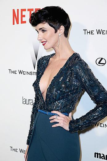 Paz Vega slight cleavage at 2015 Golden Globes After Party