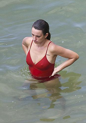 Penelope Cruz hard nipples under red monokini