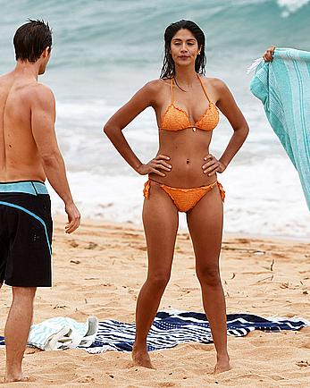 Pia Miller sexy in orange bikini at Palm Beach in Australia