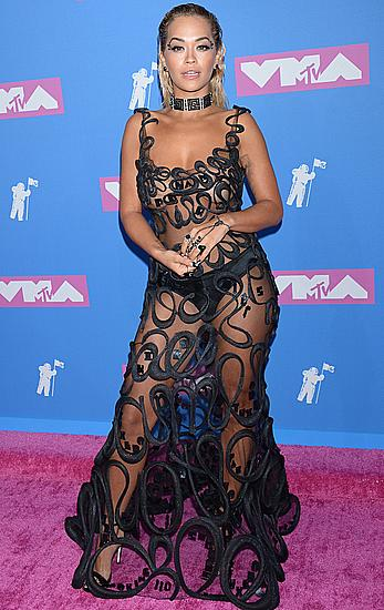 Rita Ora without bra in see through dress at 2018 MTV Video Music Awards